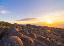 Dry Rocks Stone In Lan Hin Pum, Phu Hin Rong Kla National Park, Phitsanulok Province, Thailand. Mountains Peak View With The Park Landscape. Tourist Attraction And Sunset Skyline.