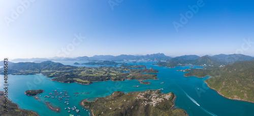 Niesamowity widok z lotu ptaka na Sai Kung, słynne miejsce wypoczynku w Hongkongu, na świeżym powietrzu