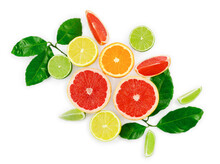 Flat Lay Composition With Citrus Fruits, Leaves And Flowers On White Background.