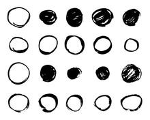 Hand Drawn Black Ink Circle Set. Round Grunge Doodle Painted Shapes