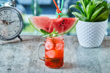 Ice Watermelon Water With Mint And Two Straws