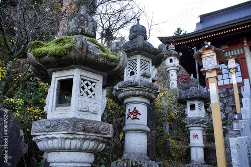 Fotografía The Japanese lantern at Musashi Mitake Shrine.
