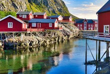 Fisherman's Houses Rorbuer On The Shore Of A Fjord In The Sea In A Å Lofoten Norway