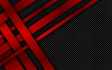 Red Overlapped Stripes. Geometric Material Background. Dark Abstract Corporate Design With Place For Your Text. Modern Vector Illustration