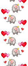 Seamless Watercolor Vertical Pattern With Cute Round Slee And Red And Pink Hearts. Love Concept In Cartoon Style. Hand Painted Cute Animals Illustrations. Isolated On White.