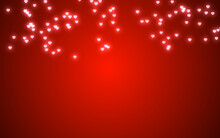 Valentine Day Pink Hearts Light On Red Background.