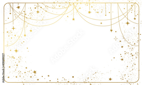 Canvas Print White magic background with gold stars and space decor with copy space