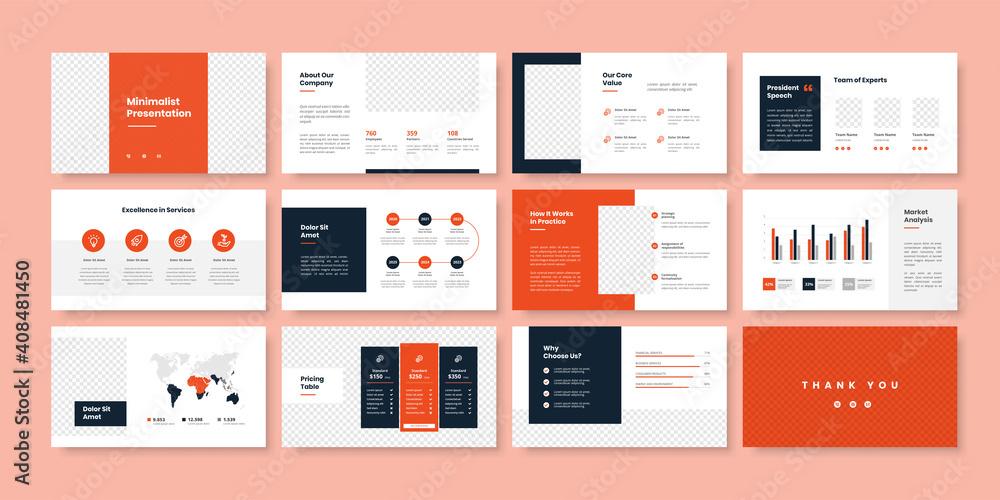 Fototapeta Business minimal slides presentation template