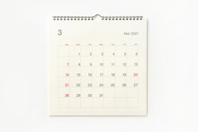 March 2021 Calendar On White Background. Calendar Background For Reminder, Business Planning, Appointment Meeting And Event.