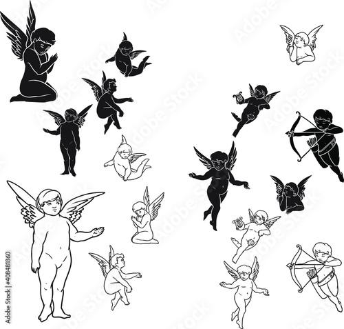 Angels pack vector set.EPS 10 Fotobehang