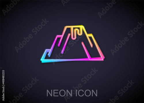 Fotografie, Tablou Glowing neon line Volcano eruption with lava icon isolated on black background