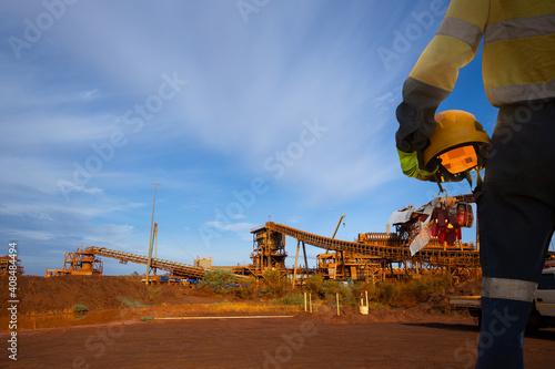 Fotografie, Tablou Safe work practises construction miner wearing long sleeve work uniform safety g