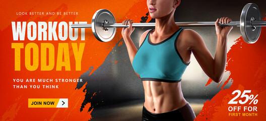 Fototapeta na wymiar Energetic 3d barbell fitness banner