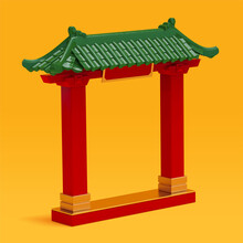 3d Red Chinese Temple Gate Or Roof