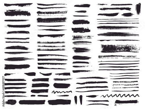 Obraz Paint brush strokes and grunge stains. Vector collection. - fototapety do salonu