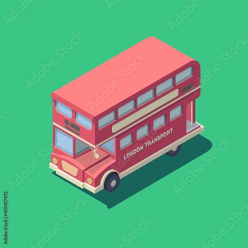 Photo Vector isometric english bus icon. Red british double-decker bus.