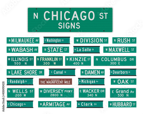 Fotografie, Tablou Vector illustration of the famous Chicago streets and avenues road signs