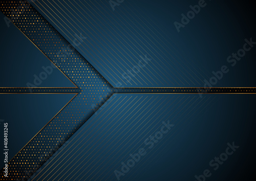 Dark blue and golden abstract tech geometric background. Luxury glitter dots concept vector design