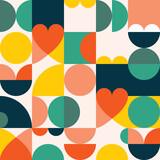 Fototapeta Kuchnia - Mid-century modern 60's and 70's style vector seamles pattern - retro minimalist geometric textile or fabric print with hearts