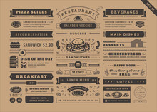 Restaurant Menu Typographic Decoration Design Elements Set Vintage And Retro Style Vector Illustration.