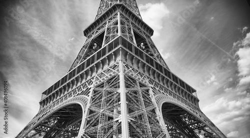 Fototapeta Eiffel Tower in Infrared with Dynamic Sky and Clouds