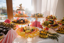 Many Fresh Fruits On Buffet Table At The Celebration