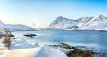 Outstanding  Winter View On Sundstraumen Strait That Separates Moskenesoya And Flakstadoya Islands.