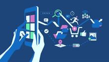Le Numerose Possibilità Delle Applicazioni Mobile. Le Mani Che Interagiscono Con Un Dispositivo Digitale Dal Quale Esce Un Flusso Di Icone