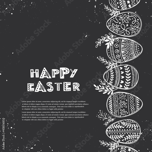 Easter greeting card with decorative eggs and hand lettering