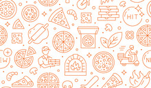 Pizza Delivery Orange Seamless Pattern. Vector Background Included Line Icons As Courier, Cheese, Hit, Motor Scooter, Knife Bake, Hot Pepper, Box Outline Pictogram For Italian Food
