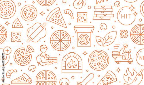 Obraz na płótnie Pizza delivery orange seamless pattern
