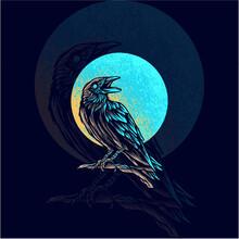 Raven Animal Mascot Logo Illustration