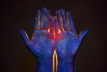 Light Through The Palms Of Your Hands In Ultraviolet, God And Religion. Divine Light Through Hand Fingers, Prophet Muhammad