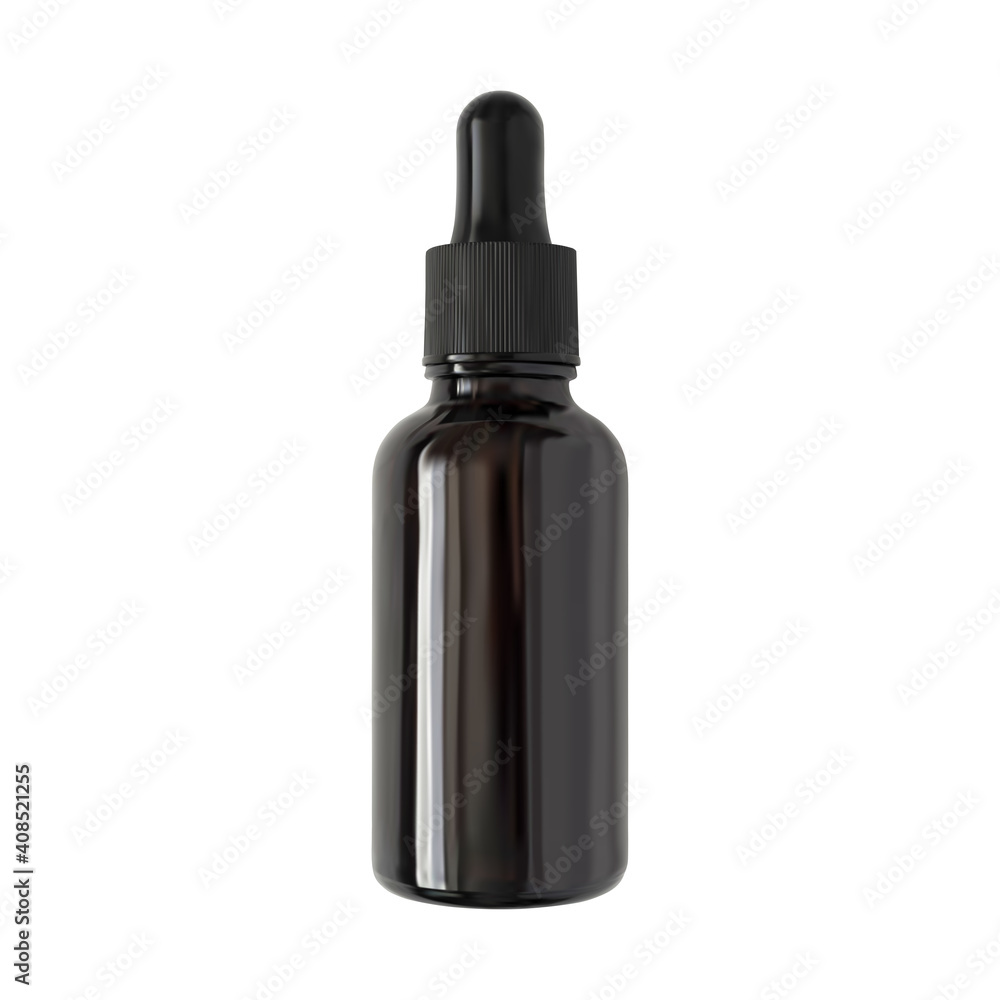 Fototapeta Serum bottle isolated vector realistic illustration. Brown glass cosmetic container with black pipette dropper on white background. Aromatherapy package mockup