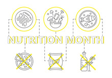 National Nutrition Month Concept Vector. Event Is Celebrated Every March. Healthy And Unhealthy Food Are Shown. Sausage With Pasta And Mushrooms On A Plate. Cauliflower, Peppers, Carrots