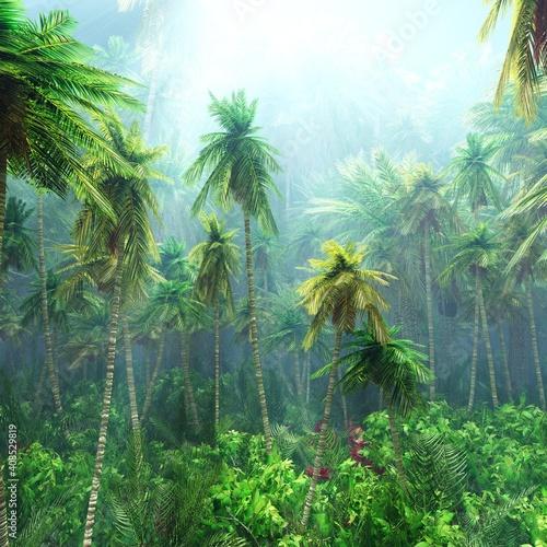 Obraz Jungle, beautiful rainforest in the fog, palm trees in the haze, jungle in the morning in the fog, 3D rendering - fototapety do salonu