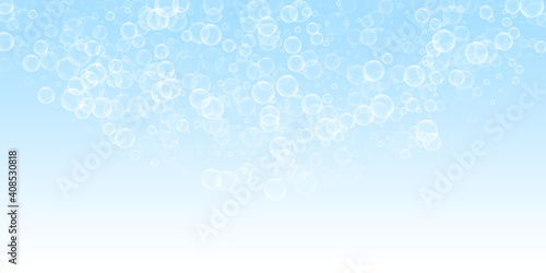 Random soap bubbles abstract background. Blowing b Fototapeta
