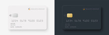 Credit Card Mockup. Realistic White And Black Credit Card With Blank Surface For You Design. Vector Illustration EPS10