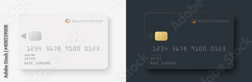 Obraz Credit card mockup. Realistic white and black credit card with blank surface for you design. Vector illustration EPS10 - fototapety do salonu