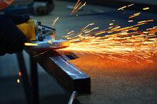 Grinding A Metal With Sparks
