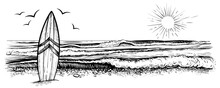 Surfing Beach Vector Landscape, Panorama View. Black And White Illustration In Vintage Sketchy Style.