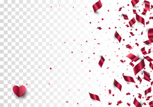 Foil Paper Confetti Scattered On Transparent Background And Red Paper Cut Heart With Soft Shadow In Left Corner. Festive Vector Border. Layered