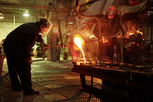 Smelting Of Metal In Big Foundry