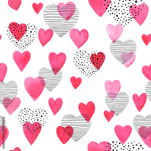 Obraz Beautiful Seamless pattern with red watercolor hearts with doodle sketch heart. design for holiday greeting card and invitation of the wedding, Valentine's day and Happy love day - fototapety do salonu