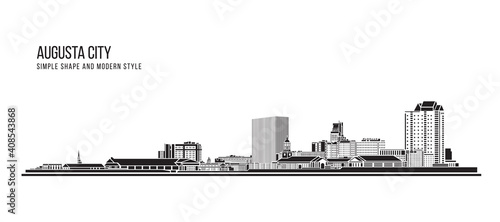 Cityscape Building Abstract Simple shape and modern style art Vector design - Augusta city