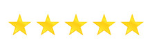 Five Stars Quality Icon Isolated On White Background. Stars Rating Review Icon For Website And Mobile Apps. Vector Illustration