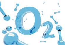 O2 - Blue Oxygen Molecule Symbol On White Background