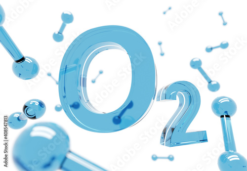 Canvas Print O2 - Blue Oxygen molecule symbol on white background