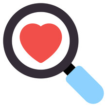 Heart Under Magnifying Glass, Search Love Icon