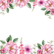 Frame Border With Pink Bouquets Of Watercolor Flowers Peonies, Illustration On White Background Hand Painted For Holidays And Invitations